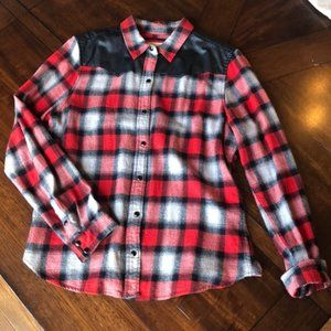 Forever 21 Faux Leather Shoulder Red Flannel